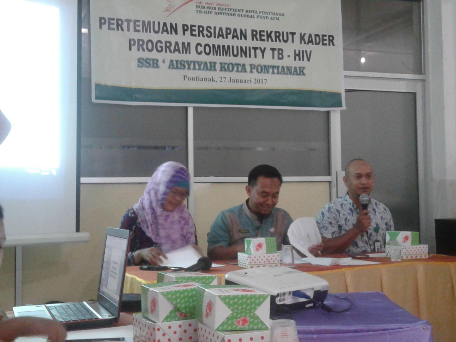 Kegiatan Rekrutmen Kader Komunitas TB oleh SSR TB-HIV 'Aisyiyah Kota Pontianak